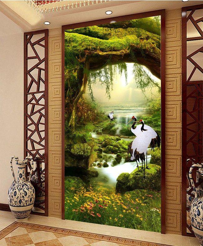 3d quarto papel de parede personalizado mural papel de parede não tecido imagem Guindastes ilusão fairyland porch pinturas foto 3d murais de parede papel de parede em Papéis de parede de Melhoramento Da casa no AliExpress.com | Alibaba Group