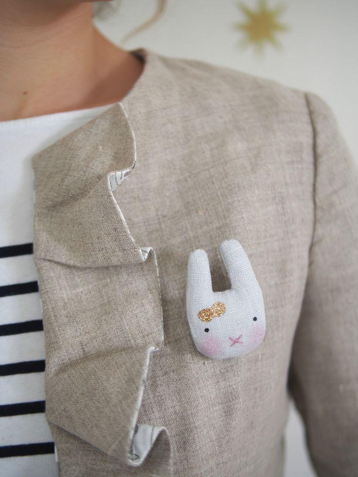 Funny rabbit brooch
