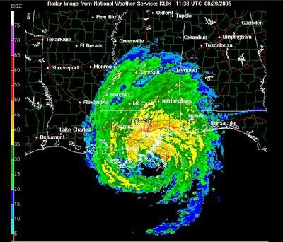 National Weather Radar image of Katrina near landfall on the Louisiana coast in 2005