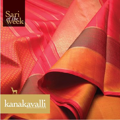 It is said that diamonds are a woman's best friend​. If so, this Kanakavalli Kanjivaram is the best pick for all wom​en. The entire expanse of this rustic orange sari is ​interspersed with ​diamond motifs w​oven in zari. The arrakku pallu features shimmering bands of gold zari​ that lend sophistication to ​This simple yet stylish sari is our pick for the week!