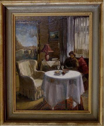 Gustav Mallý, žena sediaca pri stolíku (manželka G. Mallého), olej na plátne, 70x54cm, signované, potvrdenie pravosti na zadnej strane od prof. Peterajove, cena 9000€ (na vyžiadanie)