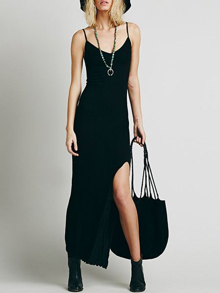 Casual and Sexy Slit Strap Midi Dress