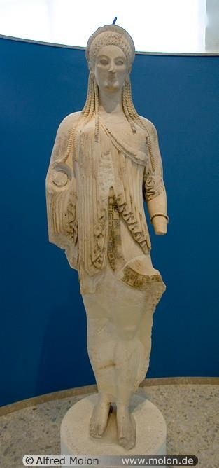 Marble statue of kore - ATHENS Archaeological Museum