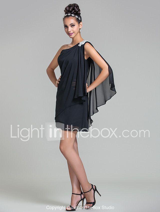 Lan ting novia corto / mini vestido de dama de honor de gasa - vaina / columna un hombro más tamaño / petite 2017 - $1653.39