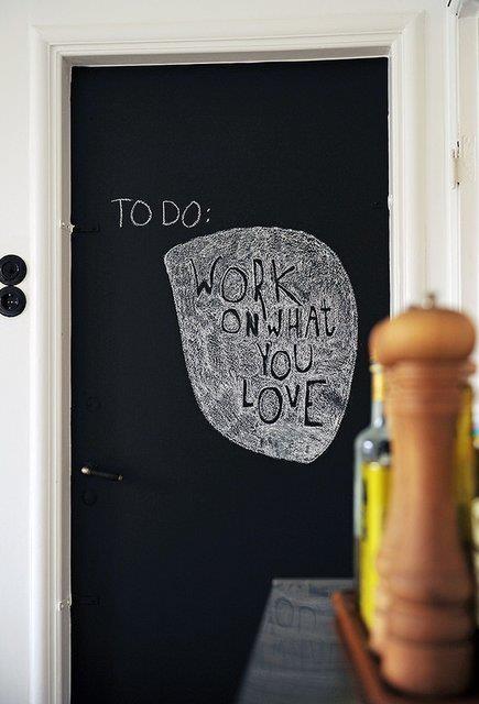Pain pantry door in chalk board paint.