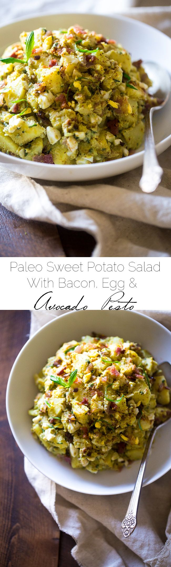 Paleo Sweet Potato Salad with Bacon, Eggs and Avocado Pesto – A healthy side dish that is SUPER creamy, easy to make and always a crowd pleaser! You won't even miss the mayonnaise!   Foodfaithfitness.com   @FoodFaithFit