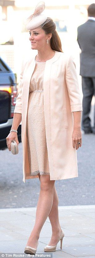 DOC arriving at Westminster Abbey today. Duchess of Cambridge is elegant in nude Jenny Packham  at Queen's Coronation service. 4 June 13. via daily mail