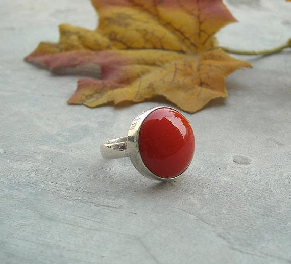 Hey, I found this really awesome Etsy listing at https://www.etsy.com/listing/100050480/red-coral-ring-round-ring-bezel-ring-red