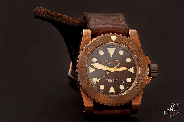 Helson shark diver bronze style pinterest nice - Bronze dive watch ...