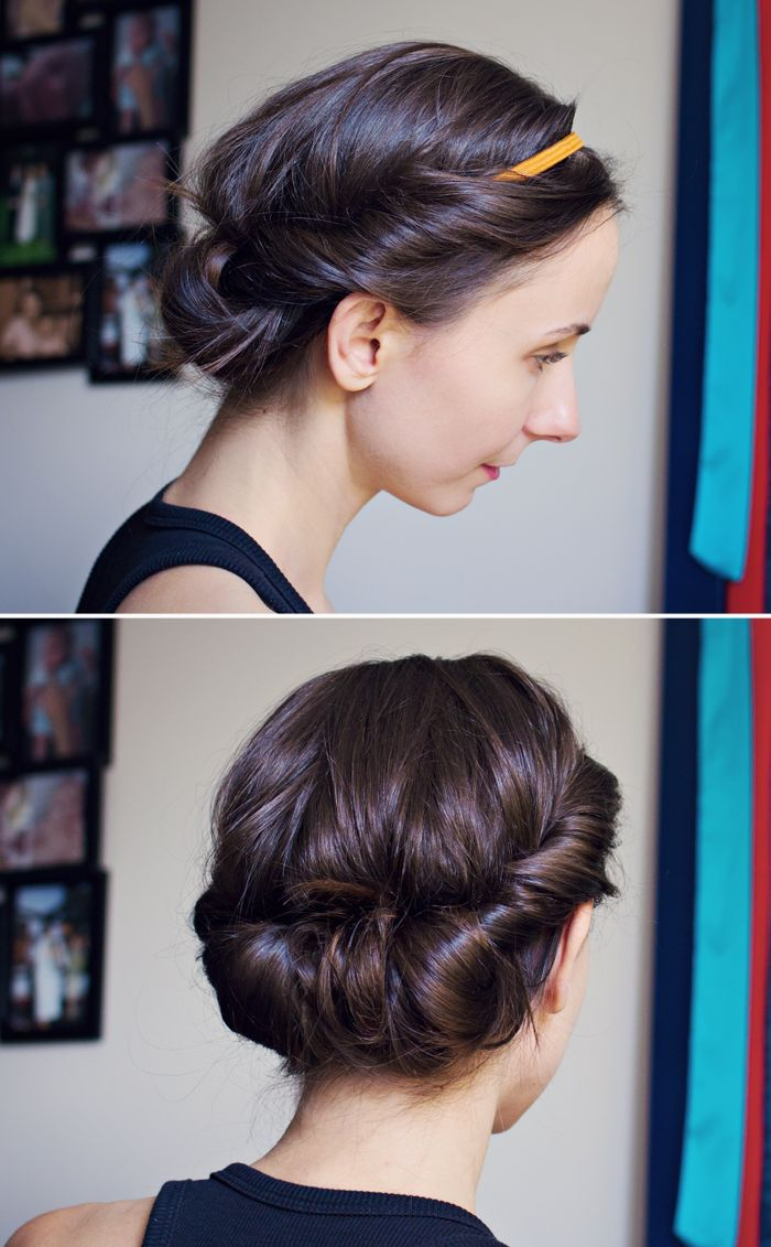 ModaMama: Hair Tutorial: Easy Headband Updo.  Even someone as hairstyle challenged as I am can pull this off!