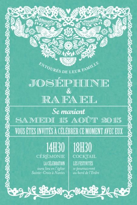 Magnificent Papel Picado Wedding Invitation From The French Website  FairePart.fr