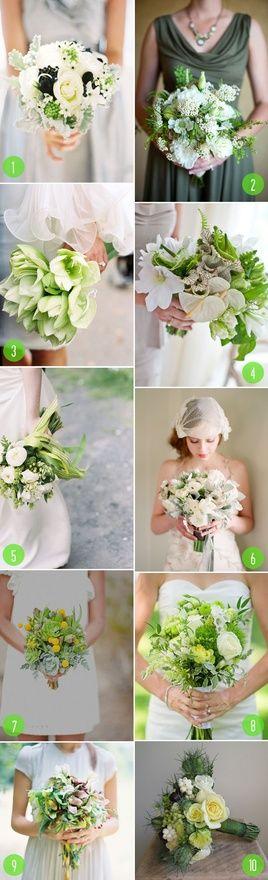 Green green green... #cool: White Flowers, Bridal Bouquets, Modern Wedding, Wedding Bouquets, Green Bouquets, Green Green, Brooklyn Bride, Green Wedding, Green Flowers
