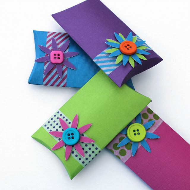 Tutorial - Make Your Own Pillow Boxes (made from a piece of plain scrapbook paper and then embellished with Washi Tape and some fun flowers and buttons)