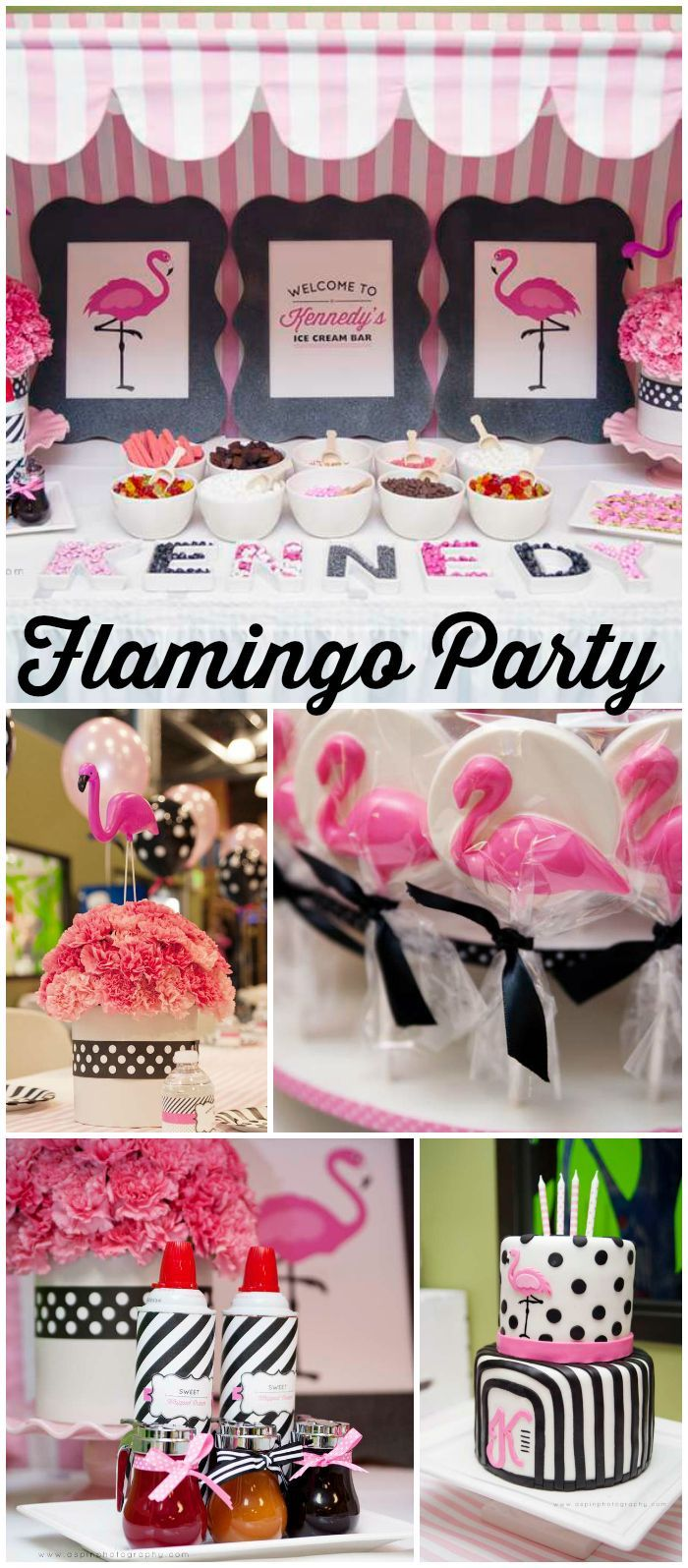 Loving this stylish pink, black and white flamingo party! See more party ideas at CatchMyParty.com!