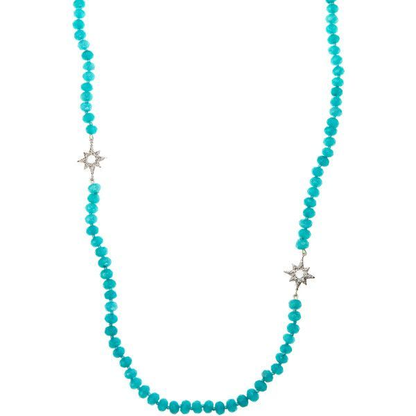 Anzie Sterling Silver & Teal Jade Necklace (440 CAD) ❤ liked on Polyvore featuring jewelry, necklaces, silver, jade necklace, lobster clasp necklace, sterling silver necklace, teal necklace and anzie jewelry #sterlingsilverjewelrynecklace