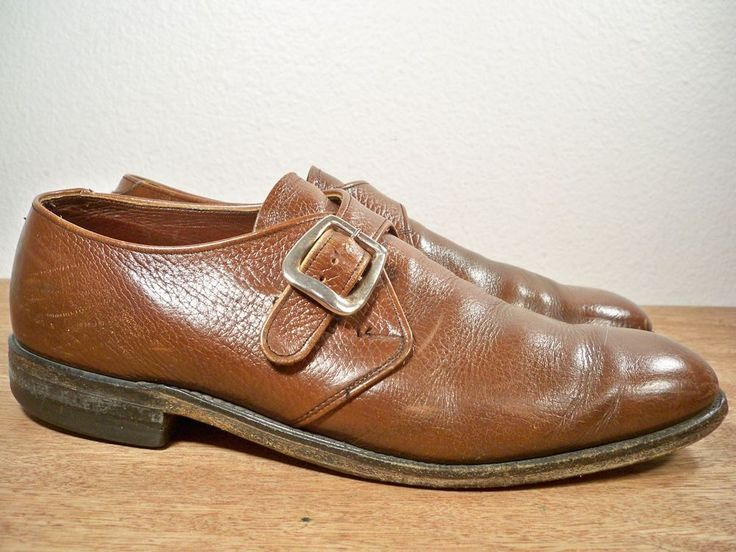 Vintage Crosby Square Mens Brown Loafer Leather Monk Strap Shoes 8.5 Made in USA #CrosbySquare #DressShoes
