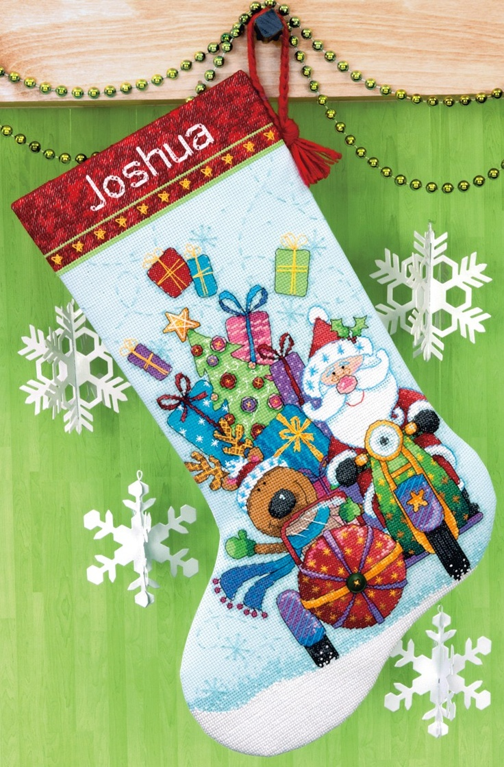 Santa's Sidecar Stocking!!    This stocking cross stitch pattern is too adorable for words. This would make a great Christmas memory for a child - and a keepsake they could keep throughout their life.    From Stoney Creek: http://store.stoneycreek.com/dimensions-santas-sidecar-kit-p13048.aspx