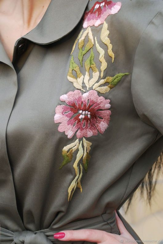 Outer Clothing handmade. Exclusive cloak with hand embroidery, 'a Branch of orchids'. KVITKA. Online shopping on My Livemaster.