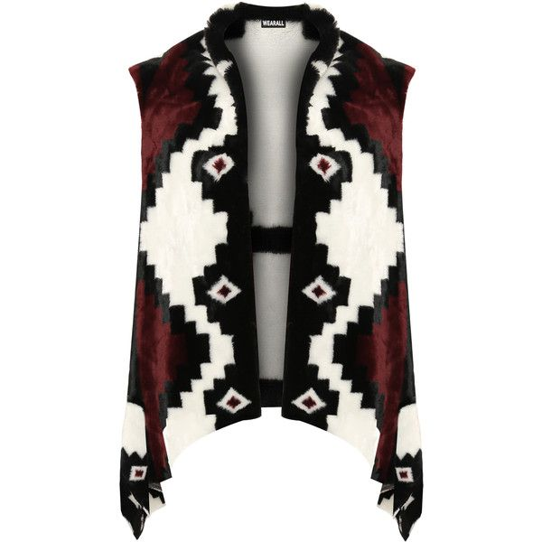 Masie Faux Fur Aztec Gillet ($27) ❤ liked on Polyvore featuring plus size women's fashion, plus size clothing, plus size outerwear, plus size vests, wine, sleeveless vest, sleeveless waistcoat, aztec print vest, faux fur vests and fake fur vest