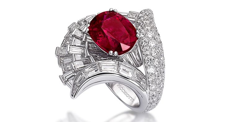 The design of the ancient Roman amphitheater inspired Giuseppe Picchiotti when he was designing this round and baguette diamond ring featuring an unheated, untreated 8.05-carat Mozambican ruby center stone.
