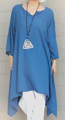 Oh My Gauze Cotton Lagenlook Tiki Long Kurta Tunic Top OSFM XL 1x 2X 3X Denim | eBay