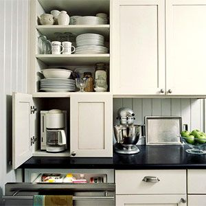 Appliance garage, Declutter with an Appliance Garage.   build extra cabinet for appliance storage.
