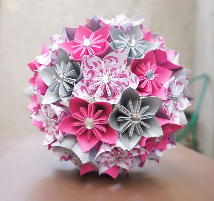 Custom Wedding Kusudama Origami Paper Flower Package - Bouquets, Bridesmaid Bouquet- Pink, silver, black. $180.00, via Etsy.