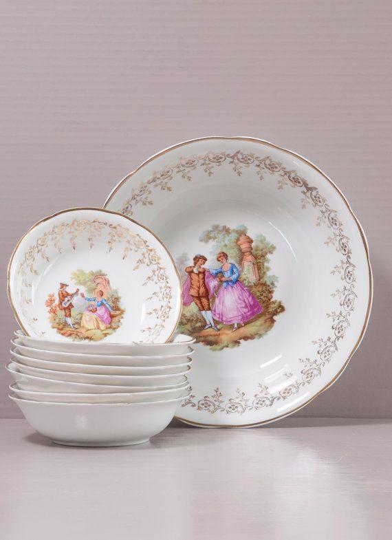Dessert Porcelain Set | French Dessert Set | Digoin Porcelain | Porcelain Bowls | Romantic Porcelain Set | Fragonard Decor | Dessert Bowls
