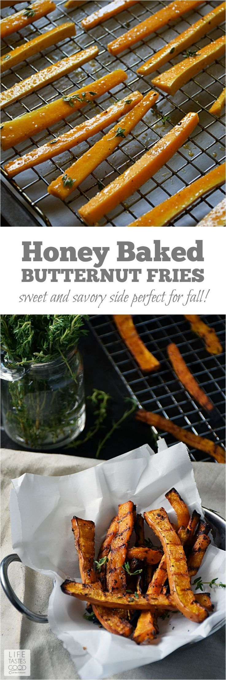 Honey Baked Butternut Squash Fries | by Life Tastes Good are a sweet and savory side dish perfect for fall! The subtle honey flavor combined with the sweet, nuttiness of butternut squash and a touch of thyme for that savory flare, will have you begging for more! #ad #LTGrecipes #TLHoneyGranulesCG /tatelylesugarus/