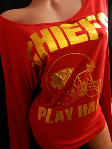 NWT Victoria Secret PINK Kansas Chiefs Slouchy Huddle Long Sleeve Shirt S