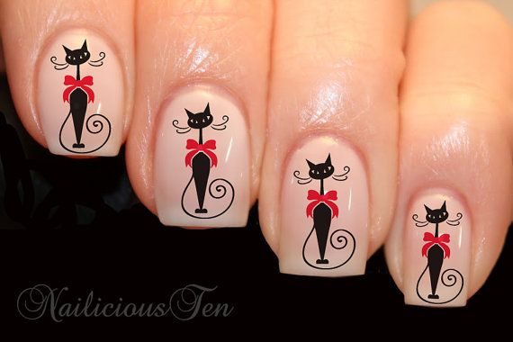 Fab Cat with Bow Vintage Nail Wrap Animal Art Water Transfer Decal Gorgeous 21pcs via Etsy