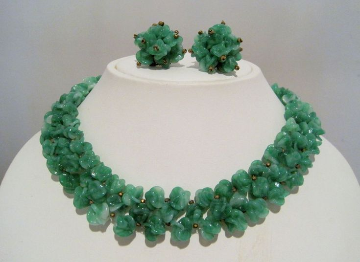 LOUIS ROUSSELET France JADE GREEN COLOR Poured Glass Bead NECKLACE & EARRING SET  | eBay