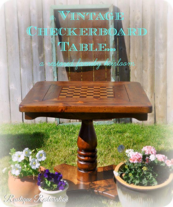 Vintage Checkerboard Table, Restored Family Heirloom. @Rustique Restoration