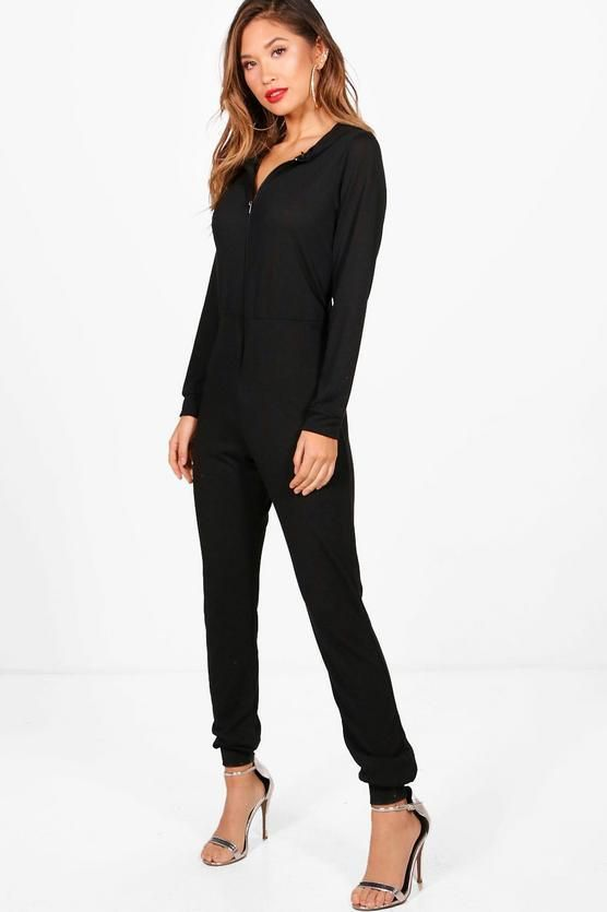 72746eaa602 Boohoo Ellie Knitted Zip Front Hooded Jumpsuit Black Size M UK 10-12 DH180  ZZ 01  fashion  clothing  shoes  accessories  womensclothing   jumpsuitsrompers ...
