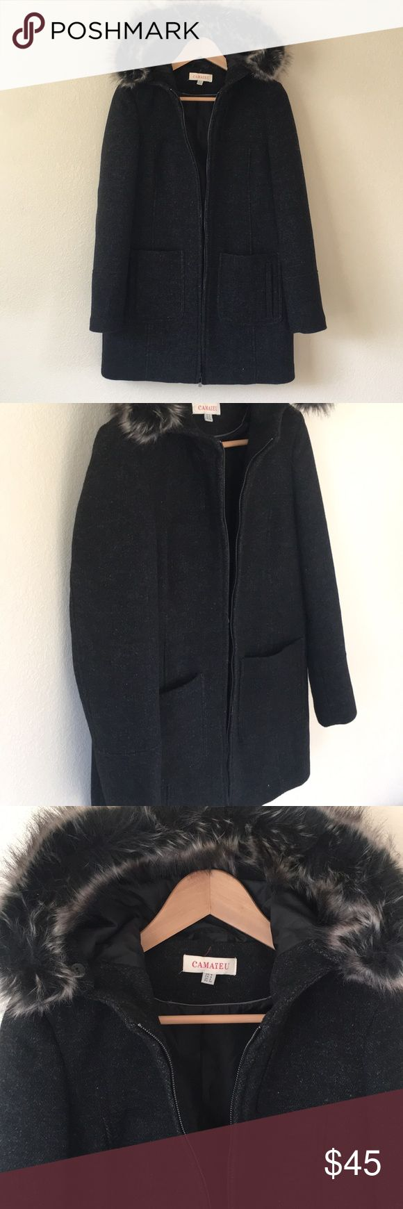 Dress Coat Fully lined, Black with a mix of some dark heather grays but mostly black. Has hood, with detachable fur detail. Front pockets are both doubled. Zipper closure. Back expands with a closed slit. Never worn. Can take measurements if needed.. happy to offers Camaïeu Jackets & Coats