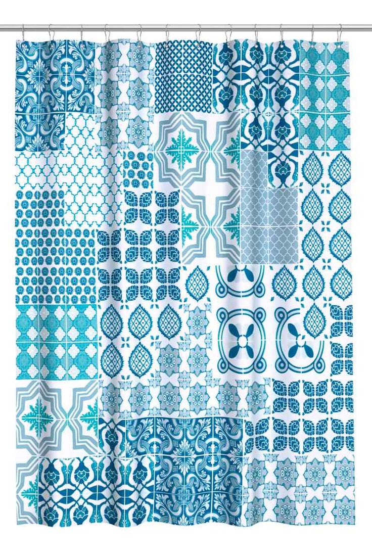 Patterned shower curtain: Print-patterned shower curtain in water-repellent polyester with metal eyelets at the top. Shower curtain rings sold separately.