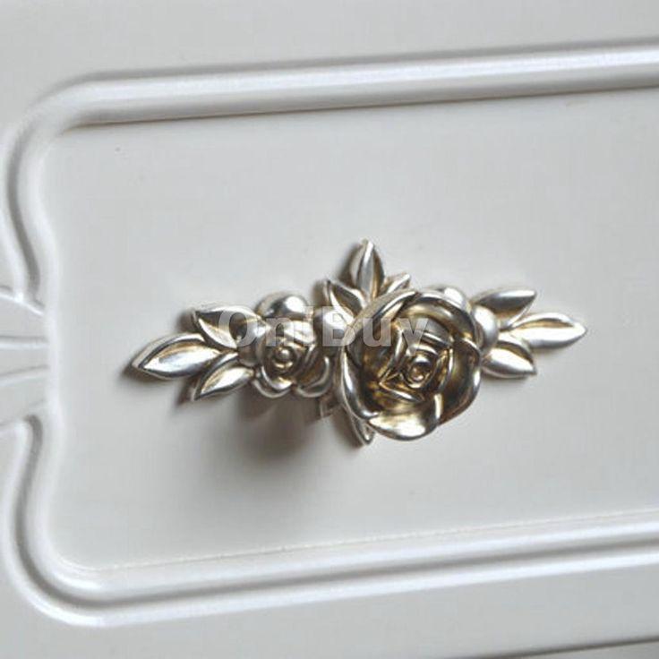 Antique poign e bouton de porte motif rose pour meuble tiroir placard l 103mm ebay poign e - Bouton de porte de placard ...