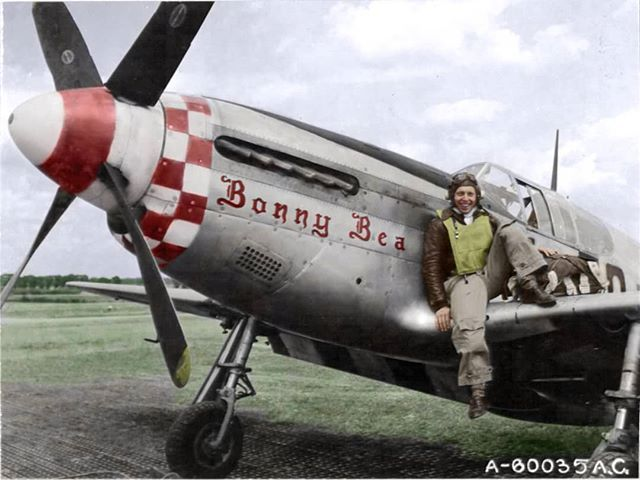 "the_ww2_memoirs Captain Lee D. ""Dutch"" Eisenhart on the wings of his P-51B of the 504th Fighter Squadron ""Crazy Horse"", 339th Fighter Group, 8th Air Force, late 1943/early 1944. The P-51B was the first Merlin-engined Mustang in service. Its arrival in late 1943 begin to tip the balance against the Luftwaffe, and it's pilots soon racked up some very impressive scores. The P-51B was tasked to mainly escort bombers at first but it slowly began to evolve into more of a fighter bomber roll as the…"