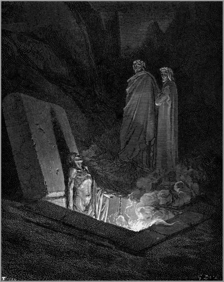 """Gustave Doré - Illustration de """"La Divine Comédie"""" de Dante Alighieri - L'Enfer, Chant 10, lignes 25-42."""