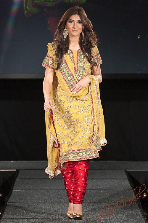 Yellow salwar outfit with red legging [Shahid Malik Studio]