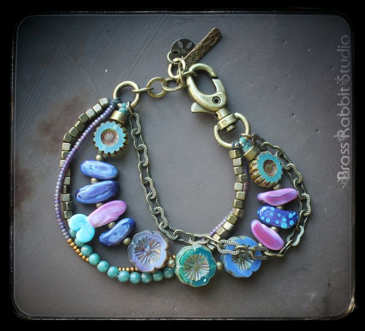 colorful gypsy inspired multistrand bracelet in vivid shades of lavender and turquoise with artisan lampwork nuggets by jasmin french czech glass bronze