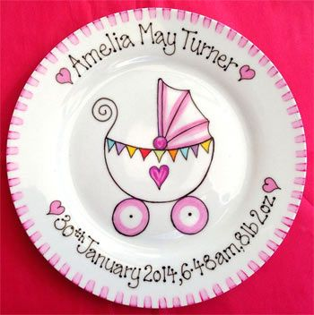 Hand Made New Baby Gift Plate - Pink or Blue Pram