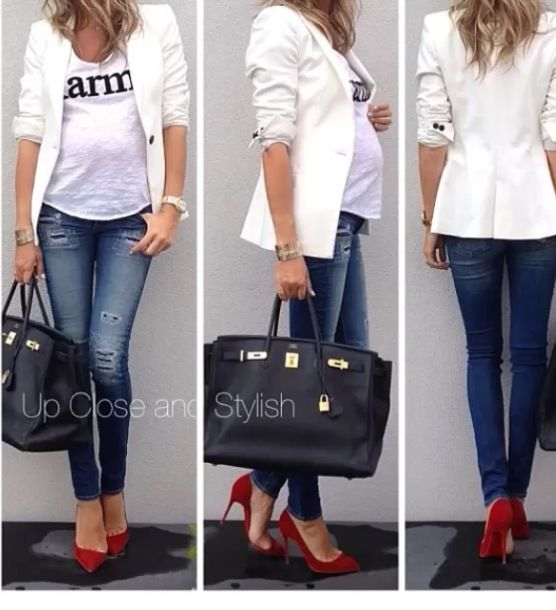 Even pregnant she's awesome! Skinny jeans, white statement t, white blazer, red heels. Cuuuuute!