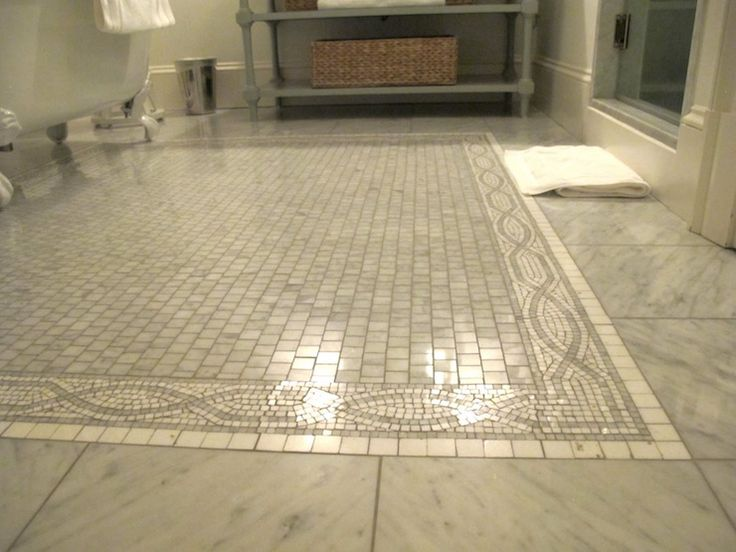 Gorgeous Bathroom With Marble Tiles Floor With Mosaic Marble Inset Tiles  And Claw Foot Tub.
