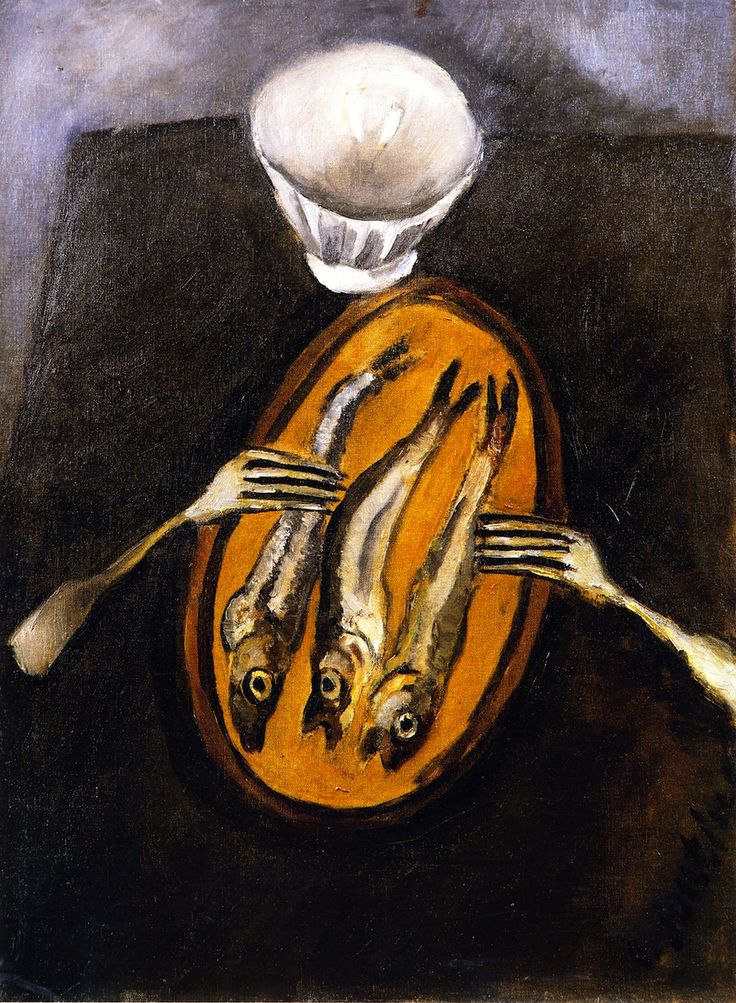 chaïm soutine(1894-1943), still life with herrings, c. 1916. oil on canvas, 64.5 x 48.6 cm. private collection http://www.the-athenaeum.org/art/full.php?ID=56399