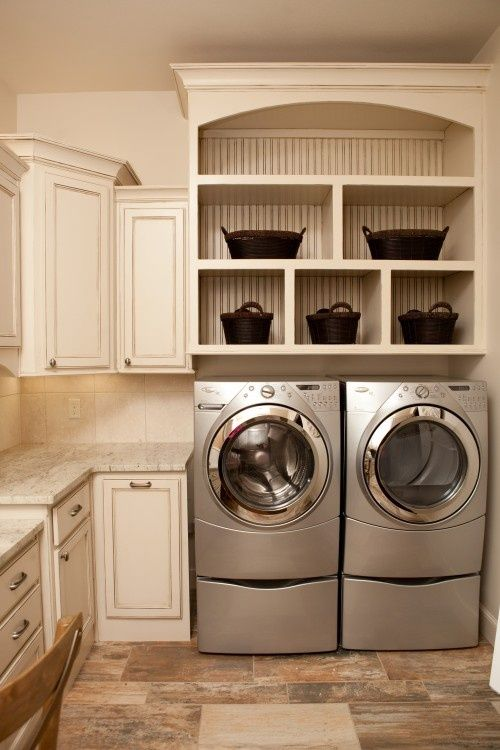 Laundry mudroom ideas google search laundry for Open shelving laundry room