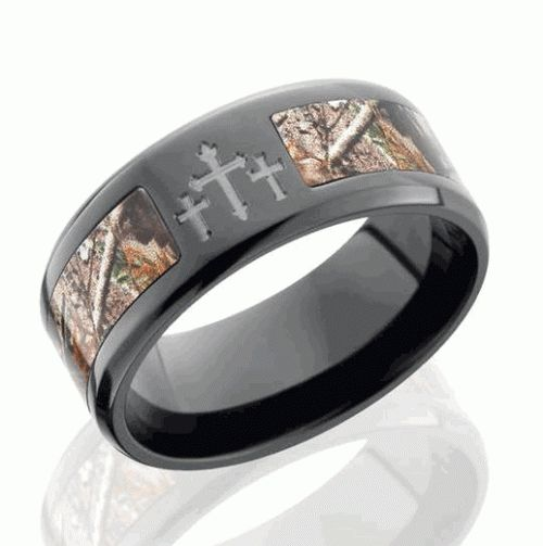 mens camo wedding band with cross