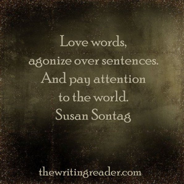 Love words, agonize over sentences. And pay attention to the world. -Susan Sontag