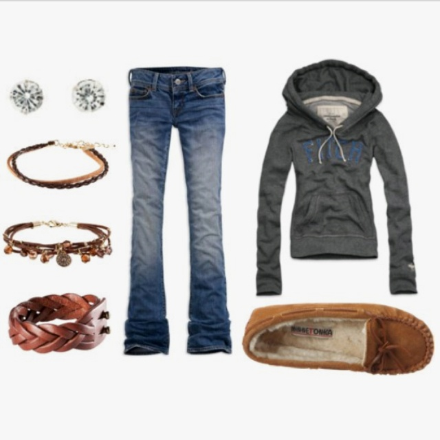My style!!! Moccasins, jeans, and some sort of sweater, cardigan, or hoodie.