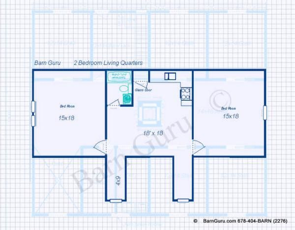 living quarters above 5 stall horse barn plan